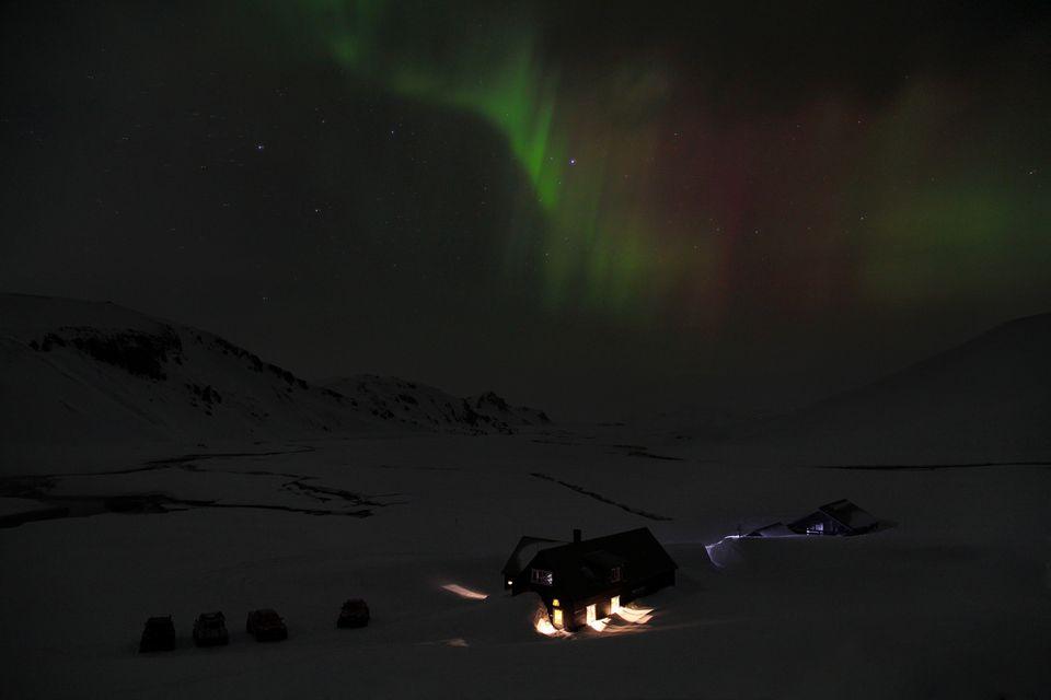 Aurore boréale à Landmannalaugar en hiver